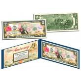 HAPPY ANNIVERSARY Keepsake Gift Colorized $2 Bill U.S. Genuine Legal Tender with Folio