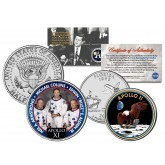 APOLLO 11 XI SPACE MISSION Colorized 2-Coin Set U.S. Florida Quarter & JFK Half Dollar - NASA ASTRONAUTS