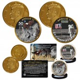 Apollo 11 1st Man on Moon 50th Anniversary John F. Kennedy Centennial 24K Gold Plated 2-Coin Set