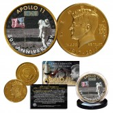 Apollo 11 1st Man on Moon 50th Anniversary John F. Kennedy Centennial 24K Gold Plated Coin - Aldrin Saluting Flag