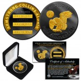 Apollo 11 50th Anniversary Commemorative One-Ounce Space-Flown Robbins Medallion Tribute Coin clad in Black Ruthenium & 24K Gold w/ BOX