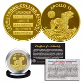 "Apollo 11 50th Anniversary Commemorative Space Medallion Tribute 1.25"" (32MM) Coin 24K GOLD Clad"