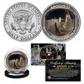 APOLLO 11 50th Anniversary Man on Moon Landing FACE SHIELD Reflection Image Genuine JFK Kennedy Half Dollar U.S. Coin