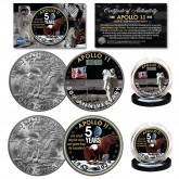 APOLLO 11 50th Anniversary Man on Moon Space Landing Genuine U.S. IKE Eisenhower Dollar 2-Coin Set