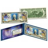 AQUARIUS - Horoscope Zodiac - Genuine Legal Tender Colorized U.S. $2 Bill