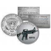 AR15 Gun Firearm JFK Kennedy Half Dollar US Colorized Coin
