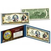United States ARMY World War II WWII Vintage Genuine Legal Tender Colorized U.S. $2 Bill