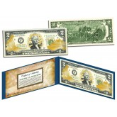 United States ARMY $2 Bill U.S. Genuine Legal Tender - GOLD LEAF Laser Line - MILITARY