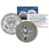 BANKSY - GIRL JUMPING ROPE - Colorized JFK Half Dollar U.S. Coin - Street Art Graffiti