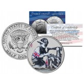 BANKSY - SLAVE LABOUR - Colorized JFK Half Dollar U.S. Coin - Street Art Graffiti
