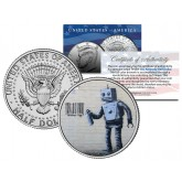 BANKSY - ROBOT TAGGING BARCODE - Colorized JFK Half Dollar U.S. Coin - Street Art Graffiti