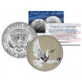 BANKSY - ARMORED DOVE OF PEACE - Colorized JFK Half Dollar U.S. Coin - Street Art Graffiti