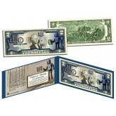 BANKSY - ROBOT TAGGING BARCODE - Colorized $2 Bill U.S. Legal Tender - Street Art Graffiti