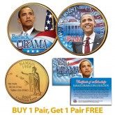 BARACK OBAMA Inauguration - Hawaii State Quarters US 2-Coin Set 24K Gold Plated - BOGO