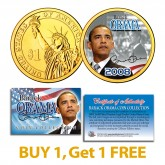 BARACK OBAMA 2008 Presidential $1 Dollar Coin 24K Gold Plated - BUY 1 GET 1 FREE