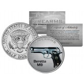 BERETTA M9 Gun Firearm JFK Kennedy Half Dollar US Colorized Coin