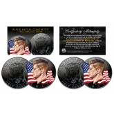 BLACK NICKEL Colorized ENIGMA Edition 2015 JFK Half Dollar 2-Coin Set - P&D MINT