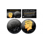 Black RUTHENIUM * BLACKOUT EDITION * Clad 2016 Kennedy Half Dollar U.S. Coin with 24K Gold Clad JFK Portrait - D Mint