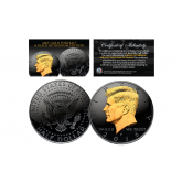 Black RUTHENIUM *BLACKOUT EDITION *Clad 2016 Kennedy Half Dollar U.S. Coin with 24K Gold Clad JFK Portrait - P Mint