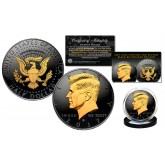 Black RUTHENIUM 2-SIDED 2017 Kennedy Half Dollar U.S. Coin with 24K Gold Clad JFK Portrait on Obverse & Reverse (D Mint) in Deluxe Display Felt Box