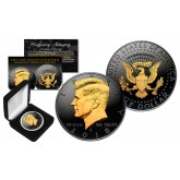 Black RUTHENIUM 2-SIDED 2018 Kennedy Half Dollar U.S. Coin with 24K Gold Clad JFK Portrait on Obverse & Reverse (P Mint) in Deluxe Display Felt Box