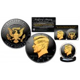 Black RUTHENIUM 2-SIDED 2018 Kennedy Half Dollar U.S. Coin with 24K Gold Clad JFK Portrait on Obverse & Reverse (D Mint)