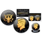 Black RUTHENIUM 2-SIDED 2018 Kennedy Half Dollar U.S. Coin with 24K Gold Clad JFK Portrait on Obverse & Reverse (P Mint)