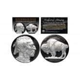 1930's BLACK RUTHENIUM Original Indian Head Buffalo Nickel *FULL DATES* GENUINE SILVER Highlights Obverse & Reverse