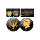 Black RUTHENIUM 2-SIDED 2016 Kennedy Half Dollar U.S. Coin with 24K Gold Clad JFK Portrait on Obverse & Reverse (D Mint)