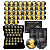 2007-2016 Complete Collection of U.S. PRESIDENTIAL DOLLARS - BLACK RUTHENIUM Edition featuring 24K Gold Highlights with Deluxe Leatherette Box (Complete Set of all 39 Coins)