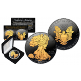 Black RUTHENIUM 1 Oz .999 Fine Silver 2017 American Eagle U.S. Coin with 2-Sided 24K Gold clad with Deluxe Felt Display Box