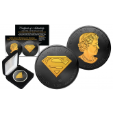 2016 CANADIAN $5 SUPERMAN 1 oz. Silver Coin BLACK RUTHENIUM with 24KT Gold Clad Highlights 2-Sided
