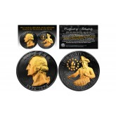 Black RUTHENIUM 2-Sided 1976 Bicentennial Quarter with 24KT Gold Clad Highlights Obverse & Reverse