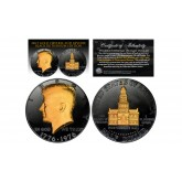 Black RUTHENIUM 2-Sided 1976 Bicentennial JFK Half Dollar with 24KT Gold Clad Highlights Obverse & Reverse