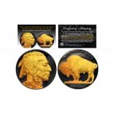 1930's BLACK RUTHENIUM Original Indian Head Buffalo Nickel *FULL DATES* 24KT Gold Clad Obverse & Reverse
