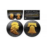 Black RUTHENIUM 2-Sided 1963 Ben Franklin Half Dollar with 24KT Gold Clad Highlights Obverse & Reverse