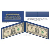 BLUE Deluxe Display Protection Folio for CURRENCY BANKNOTE BILL PAPER MONEY (QTY 3)