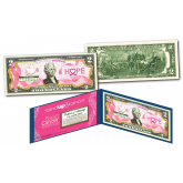 BREAST CANCER AWARENESS Official Genuine Legal Tender U.S. $2 Bill with Display Folio & Certificate -  STAND UP 2 CANCER