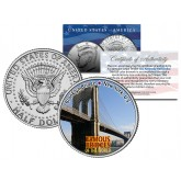 BROOKLYN BRIDGE - Famous Bridges - Colorized JFK Half Dollar U.S. Coin New York