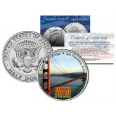 GOLDEN GATE BRIDGE - Famous Bridges - Colorized JFK Half Dollar U.S. Coin San Francisco