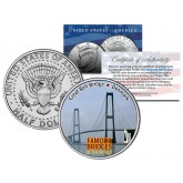 GREAT BELT BRIDGE BRIDGE - Famous Bridges - Colorized JFK Half Dollar U.S. Coin Denmark