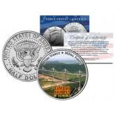 MILLAU VIADUCT - Famous Bridges - Colorized JFK Half Dollar U.S. Coin France