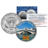 RIALTO BRIDGE - Famous Bridges - Colorized JFK Half Dollar US Coin Venice Italy