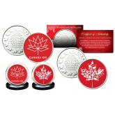 CANADA 150 ANNIVERSARY RCM Royal Canadian Mint Medallions 2-Coin Set - Exclusve Canada Red Logos
