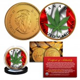 CANADA LEGALIZED MARIJUANA Colorized Genuine Canadian Caribou Quarter 24K Gold Plated - LOT OF 2