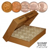 PENNY Direct-Fit Airtight 19mm Coin Capsule Holders For PENNIES (QTY: 50)  **COMES PACKAGED WITH BOX AS SHOWN**