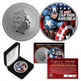 2019 1 oz Pure Silver Tuvalu Marvel Comics CAPTAIN AMERICA Colorized BU Coin - Limited of 219