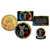 Chinese Zodiac PolyChrome Genuine Legal Tender JFK Kennedy Half Dollar 24K Gold Plated U.S. Coin - CAT