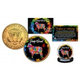 Chinese Zodiac PolyChrome Genuine Legal Tender JFK Kennedy Half Dollar 24K Gold Plated U.S. Coin - SHEEP/GOAT