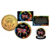 Chinese Zodiac PolyChrome Genuine Legal Tender JFK Kennedy Half Dollar 24K Gold Plated U.S. Coin - TIGER
